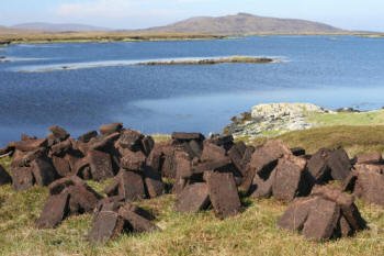 Peat blocks drying in the Hebrides