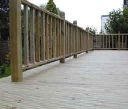 Balustrades finishe off the softwood deck